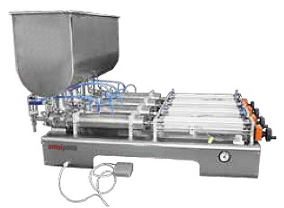 Automated Liquid / Gel / Paste Hydraulic/Piston Filling Machine (Liquid/Gel/Paste Filler) with Multiple Heads and Mixer